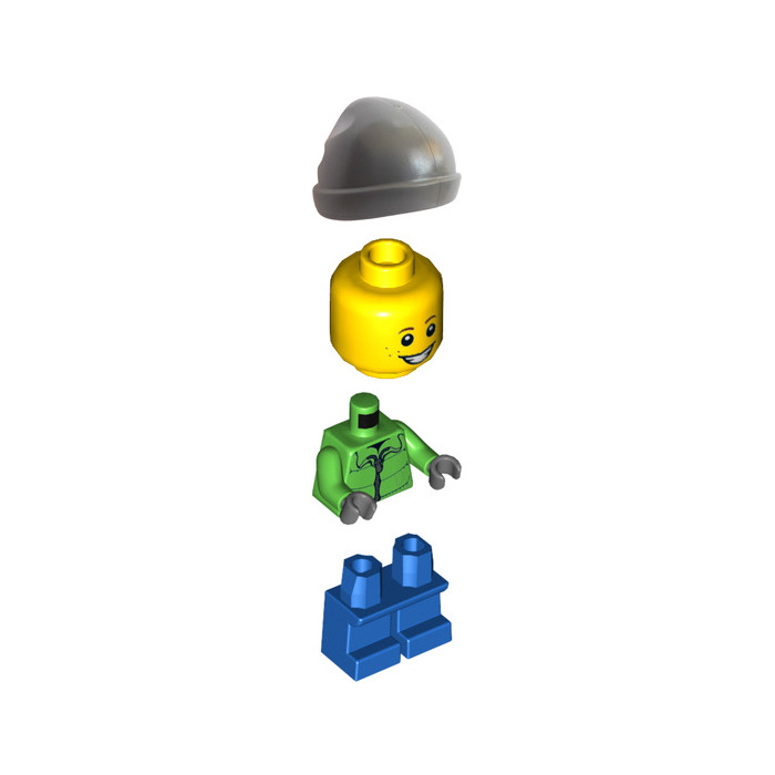 city town sets green zip jacket LEGO Boy town boy minifigure with camera