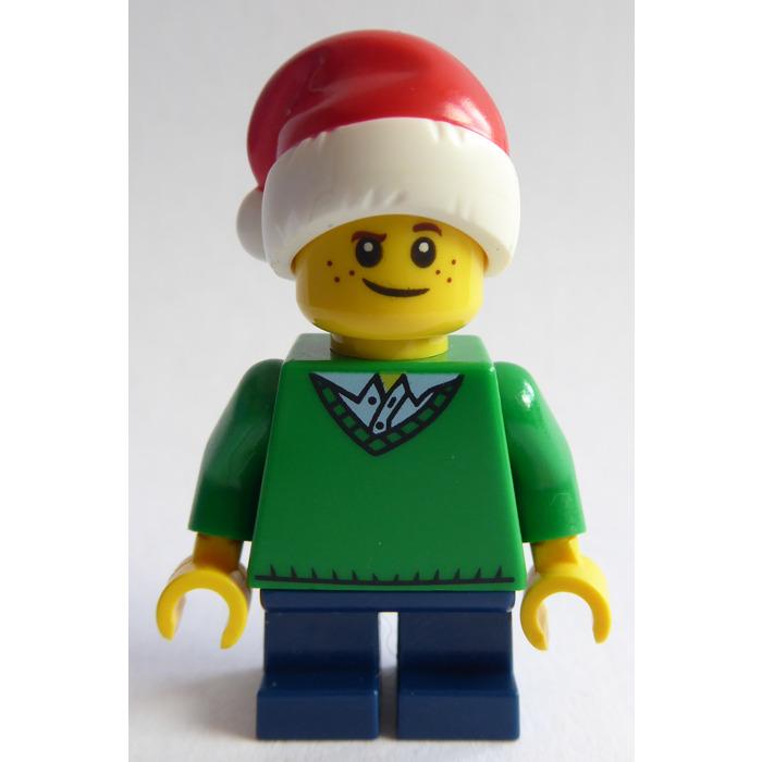 NEW Lego BOY Minifig w//GREEN V-NECK SWEATER Black Short Legs Light Brown Hair