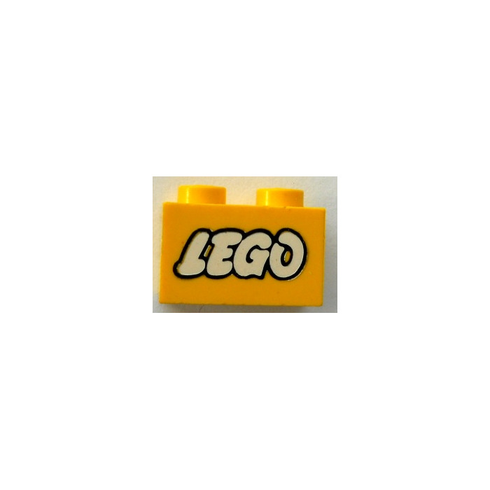 LEGO Brick 1 x 2 with White Old Style Lego-Logo with Black Outlines ...