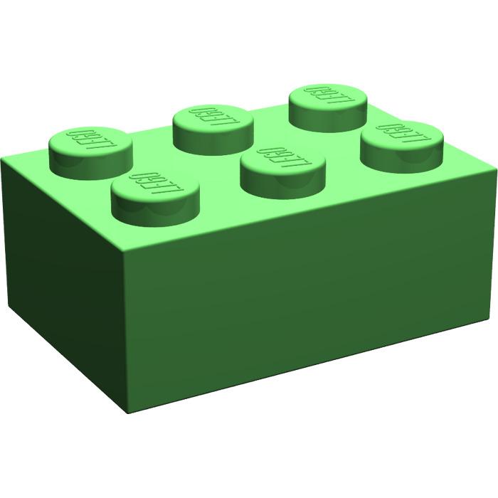 Lego 50 Pcs Green Basic Stone 2x4 3001 New Green Brick Bricks