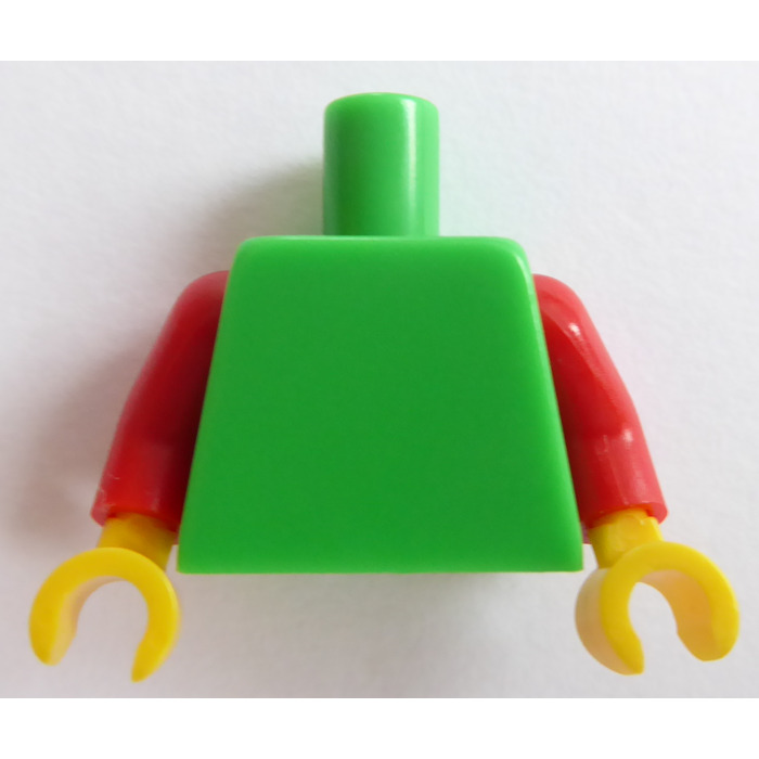Lego New Green Minifigure Torso Plain Green Arms Yellow Hands Pieces