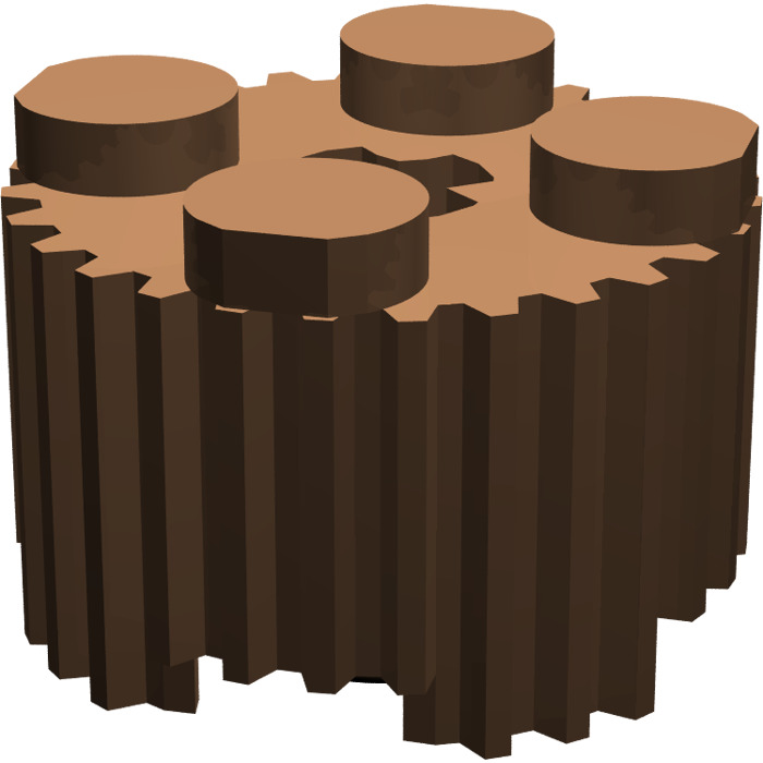 Lego 4 Reddish Brown 2x2 round brick block with grille NEW
