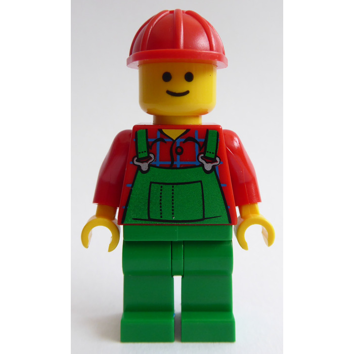 LEGO Red Minifigure Torso with Green Overalls Bib over Plaid Shirt