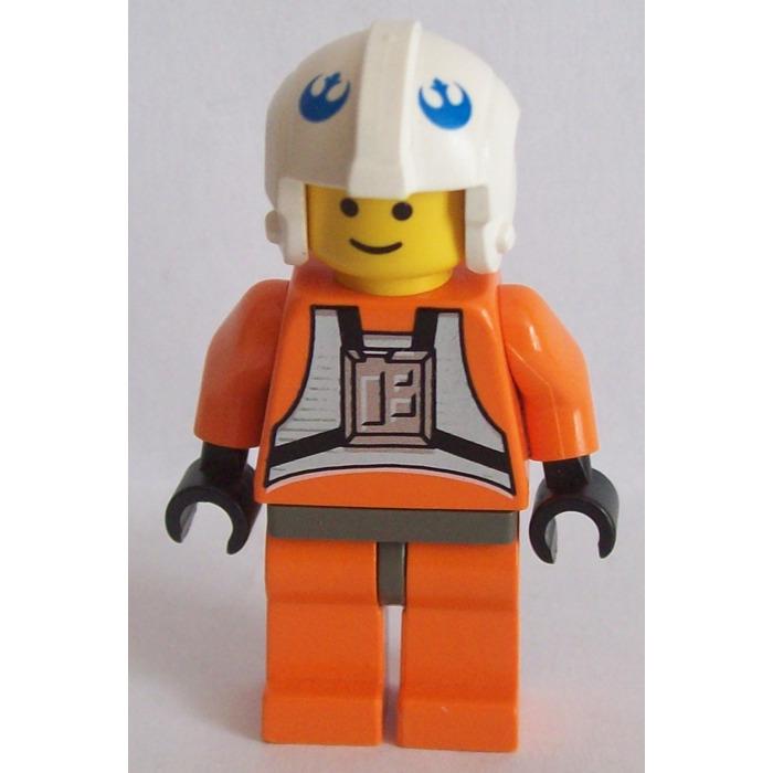 Minifig LEGO Star Wars Headgear Helmet Rebel Pilot w// Blue Rebel Logo White