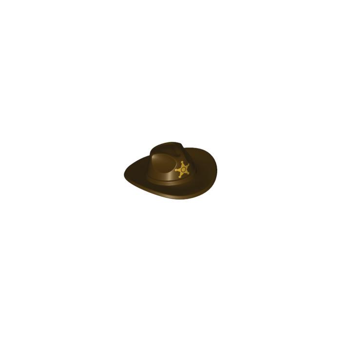 LEGO Dark Brown Cowboy Hat with Wide Brim with Decoration (19334 ... c034bf6dcdb