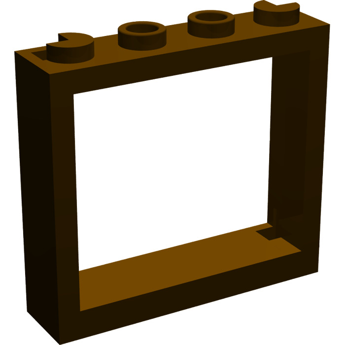 Lego dark brown window 1 x 4 x 3 without shutter tabs for 1 x 3 window
