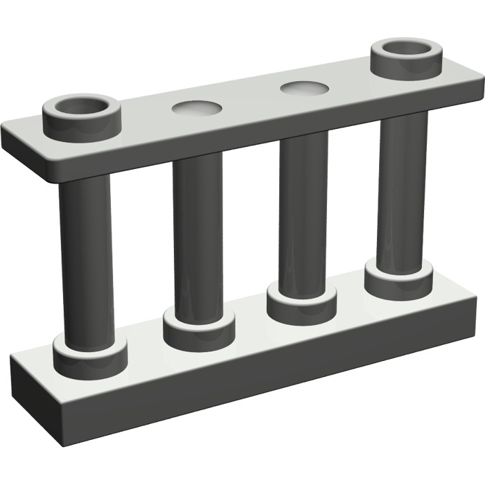 6a6285c6a473 LEGO Dark Gray Fence Spindled 1 x 4 x 2 with 2 Top Studs (30055 ...