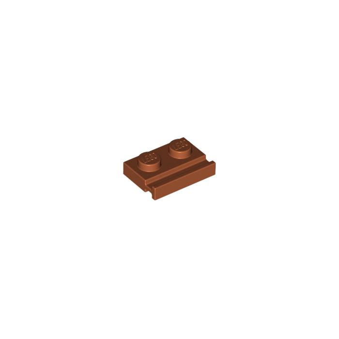 LEGO 50 New Dark Orange Plates Modified 1 x 2 with Door Rail Pieces