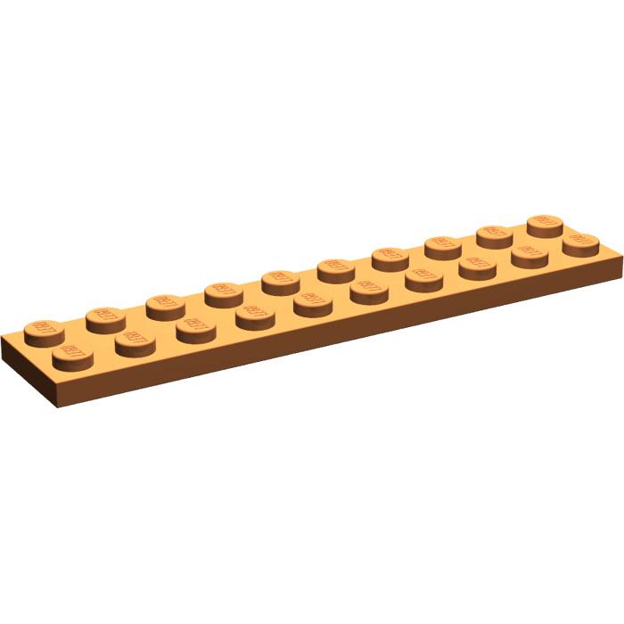 1 X Lego 3832 Plate 2 x 10 Orange