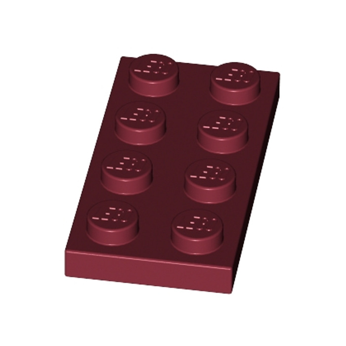 6 x 3020 lego plate dark red plate 2x4 nine new dark red