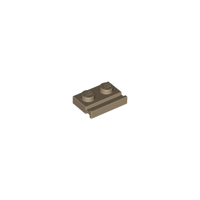 LEGO Dark Tan Plate 1 x 2 with Door Rail (32028)