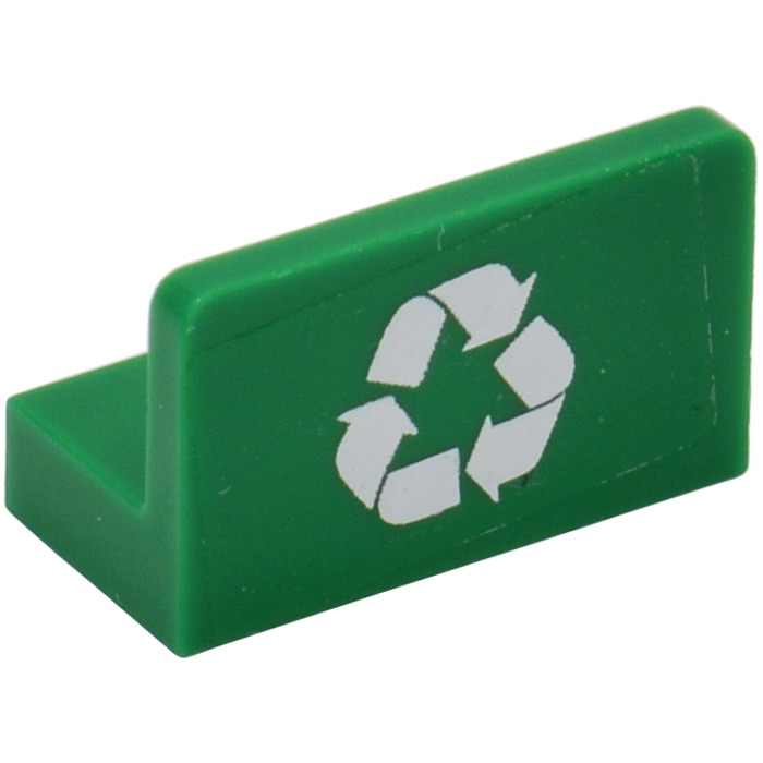 Lego Green Panel 1 X 2 X 1 With White Recycling Symbol Sticker From