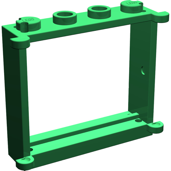 Lego green window 1 x 4 x 3 with shutter tabs brick owl for 1 x 3 window