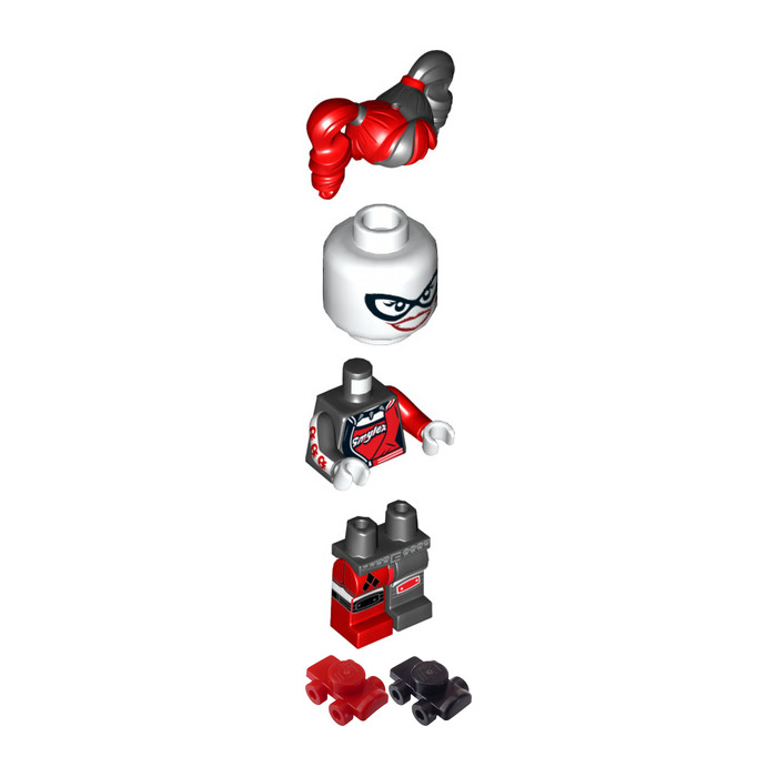 lego harley quinn black  red with roller skates minifigure