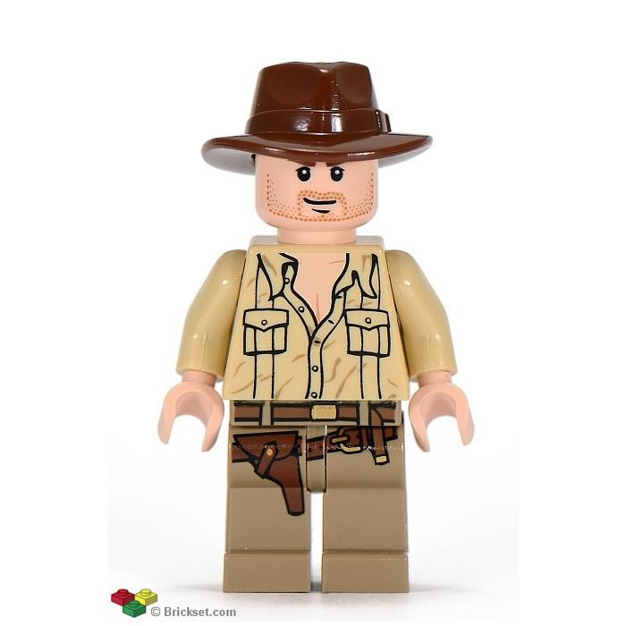 Indiana Jones lego mini figure INDIANA with bag and whip