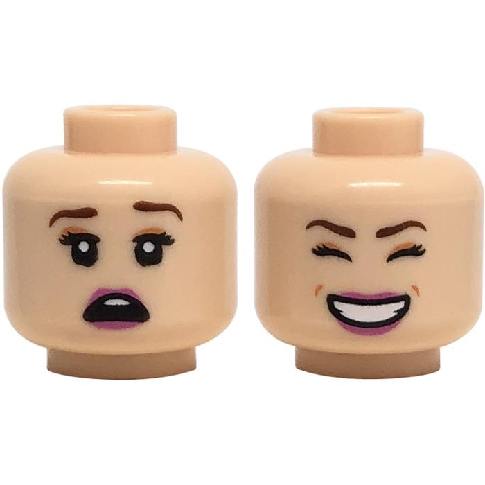 Lego Minifig Heads x 4 Dark Tan Plain Head