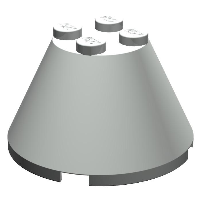 4x Lego Cone Stone Black 4x4x2 Cylinder Funnel Classic Space 3943a