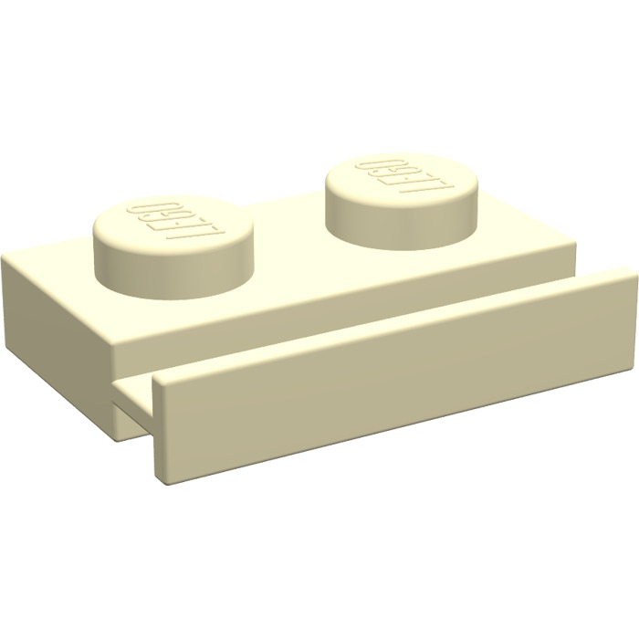 LEGO Light Yellow Plate 1 x 2 with Door Rail