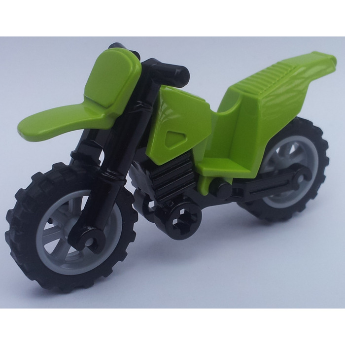 Lego Dirt Bike With Black Chassis And Medium Stone Gray Wheels