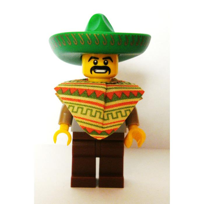 Lego Tan Poncho Cloth w// Green Terra Cotta Pattern