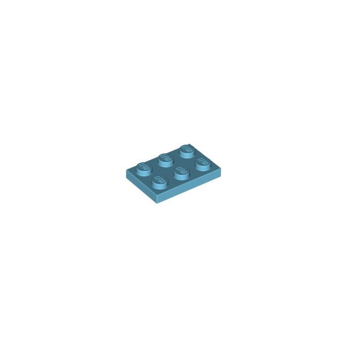 Lego 5 New Medium Azure Plates 2 x 3 Dot Pieces