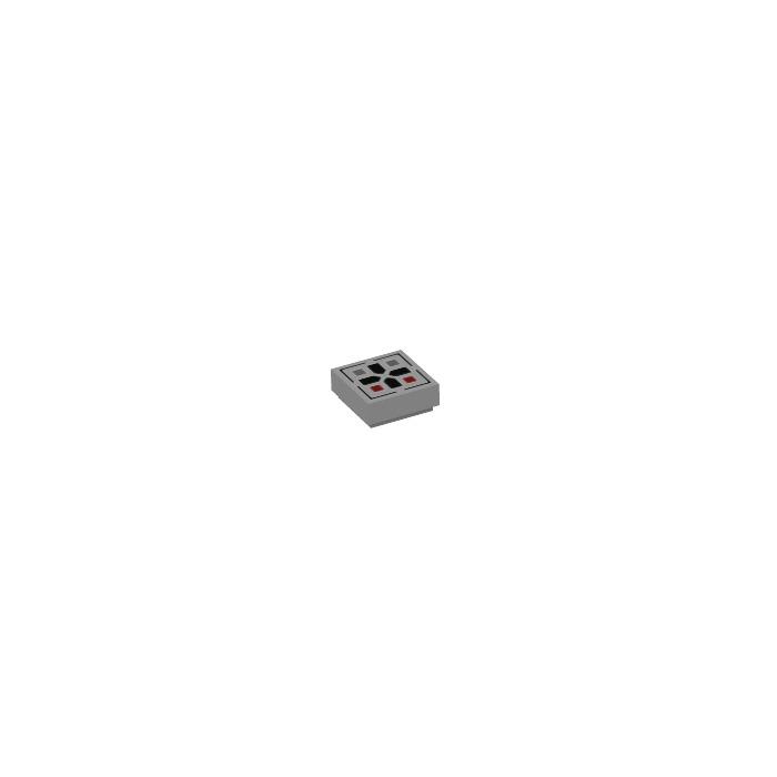 2 x lego 24641 plate cross grey, grey tile 1x1 black cross pattern nine new