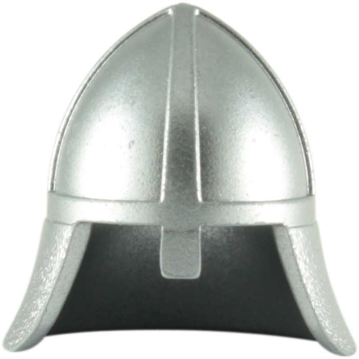 Lego Metallic Silver Knights Helmet With Neck Protector