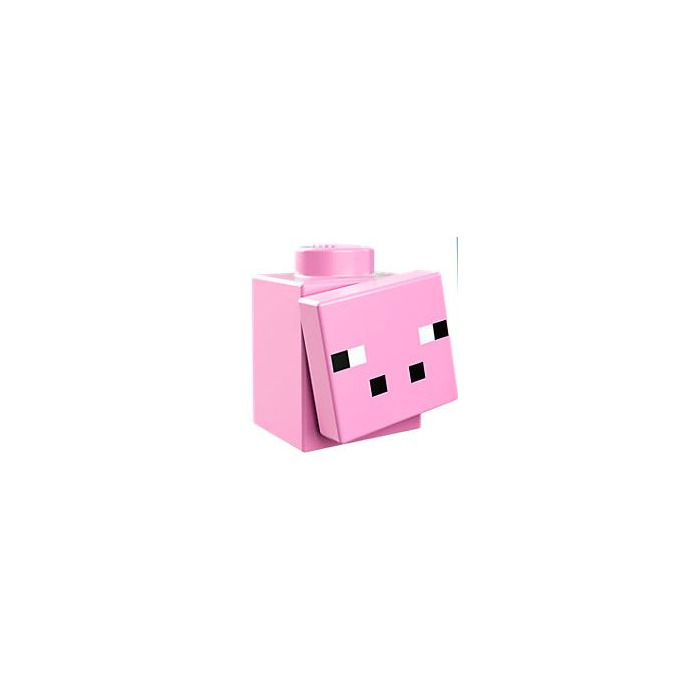Lego Bright Pink Tile 1 X 1 With Minecraft Pig Face Pattern With Groove 17058 Comes In Brick Owl Lego Marketplace