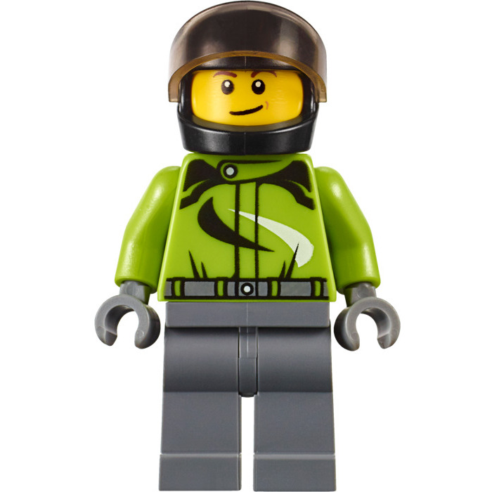 City sets. LEGO  Motorcyclist minifigure bike rider Lime green torso Helmet