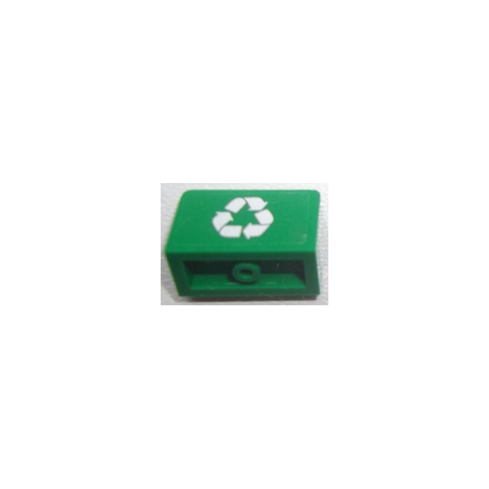 Lego Panel 1 X 2 X 1 With White Recycling Symbol Sticker From Set