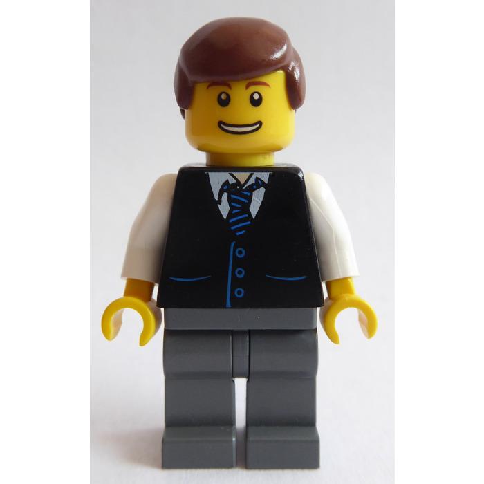 Minifig Black LEGO Torso Jacket and Vest over Pinstriped Shirt