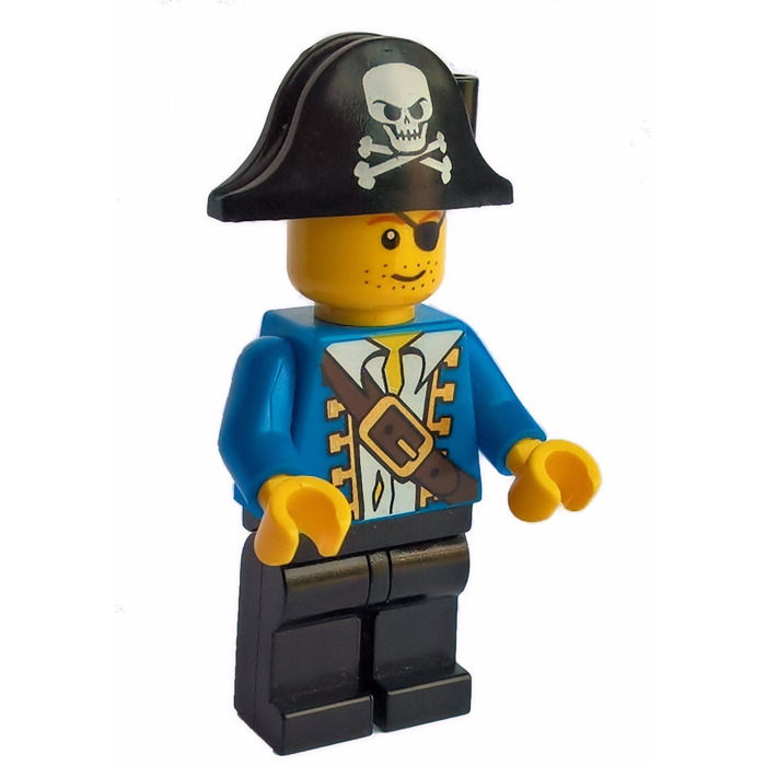 lego pirate with blue jacket and bicorne with white skull and bones minifigure - Lego Pirate