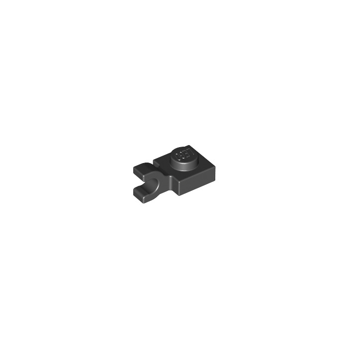 Lego 100 New Black Plates Modified 1 x 1 with Clip Horizontal thick open O clip