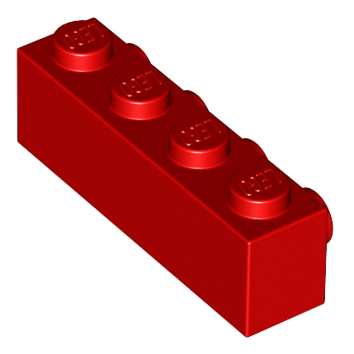 LEGO Lot of 4 Red 1x4 Bricks with Side Studs