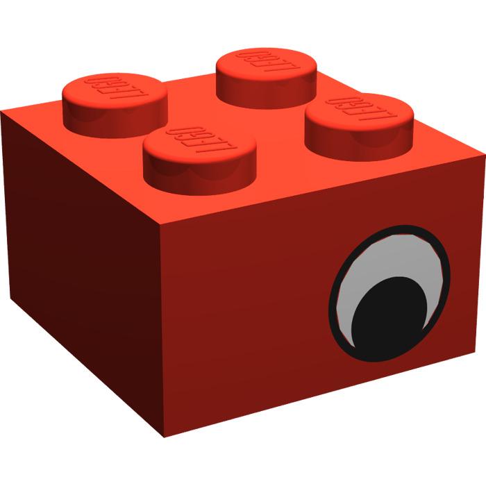 LEGO PART 3003PB024 WHITE BRICK 2 X 2 CIRCLE PUPIL EYE CREATOR HOLIDAY EVENT
