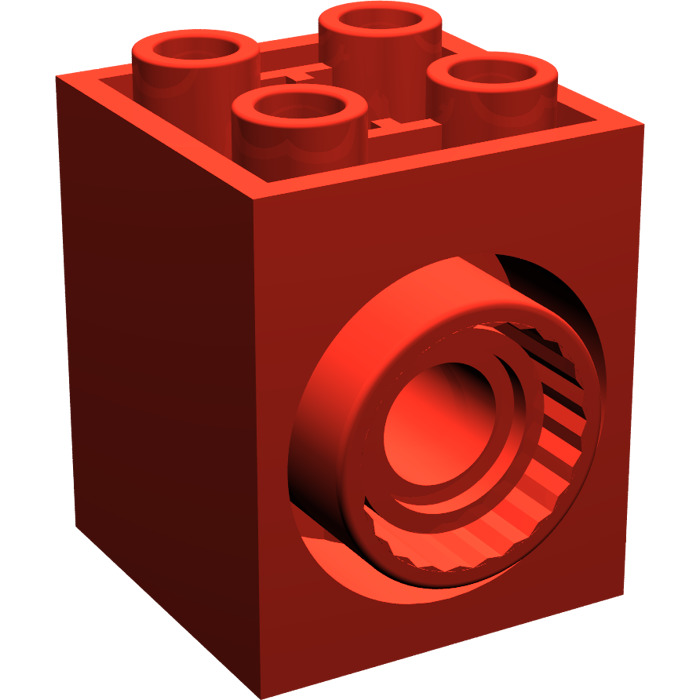 LEGO Red Brick 2 X With Holes And Click Rotation Ring