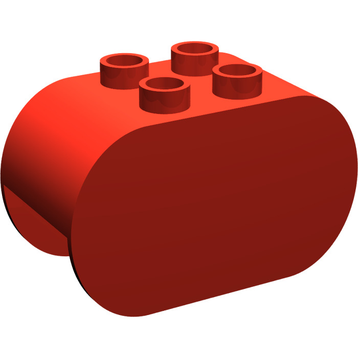 Red 4 Lego Duplo 1x2x2 Tall Concave Pieces Bricks
