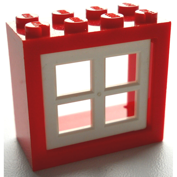 lego window 2 x 4 x 3 assembly with rounded holes 4132