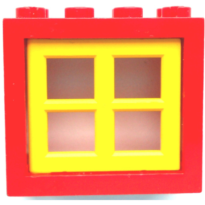 Lego red window 2 x 4 x 3 assembly with rounded holes for 2 x 3 window