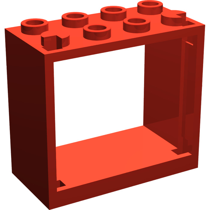 Lego red window 2 x 4 x 3 with square holes 60598 for 2 x 3 window