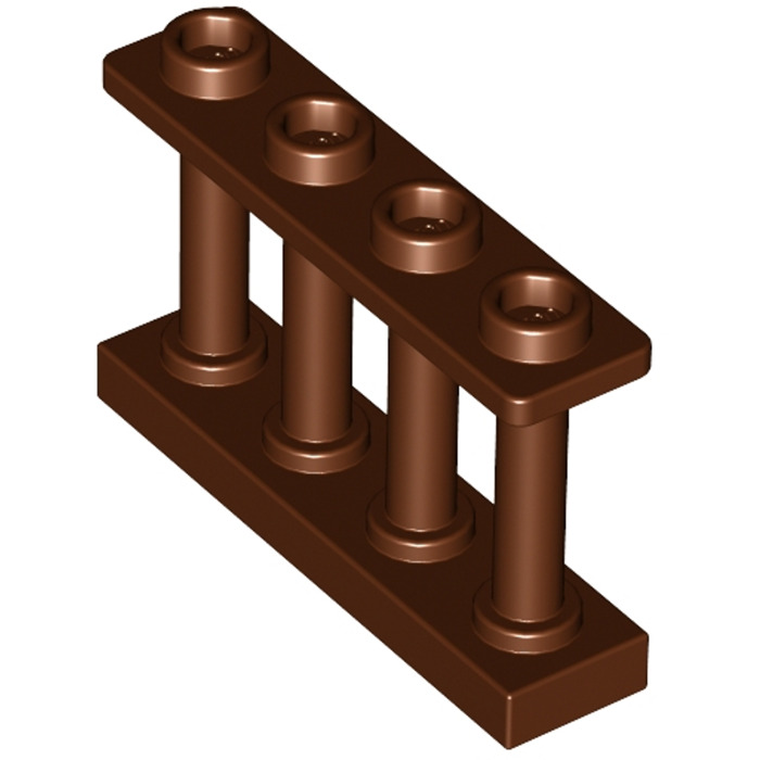 5 NEW LEGO Fence 1 x 4 x 2 Spindled with 4 Studs Reddish Brown