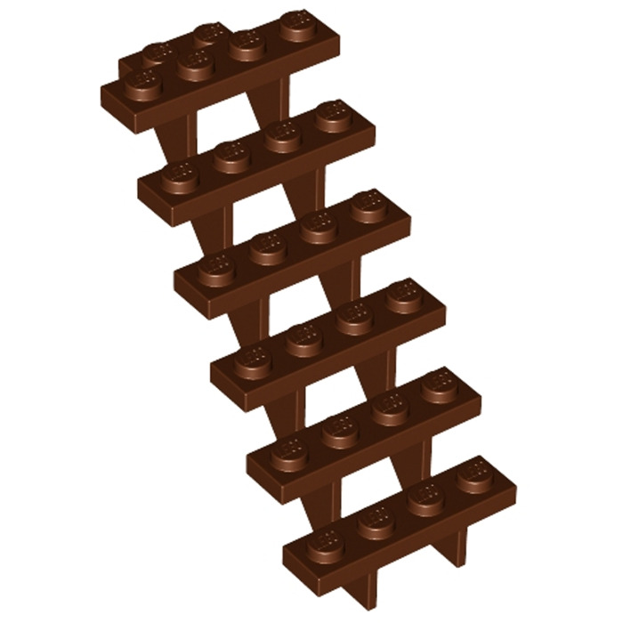 LEGO 1 X Scale Rosso-Marrone 30134//stairs 7 x 4 x 6 Straight Open NUOVO