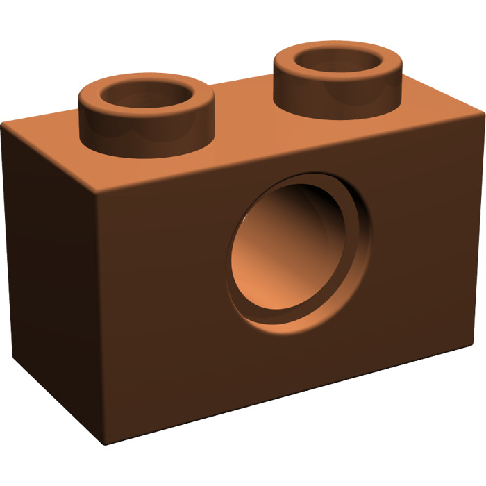Pack of 10 Brick 1x2 with Hole 3700 REDDISH BROWN LEGO Parts NEW