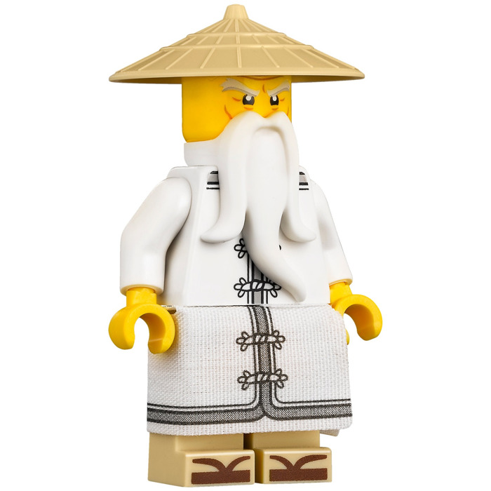 Lego sensei wu with white robe and sandals minifigure - Sensei ninjago ...