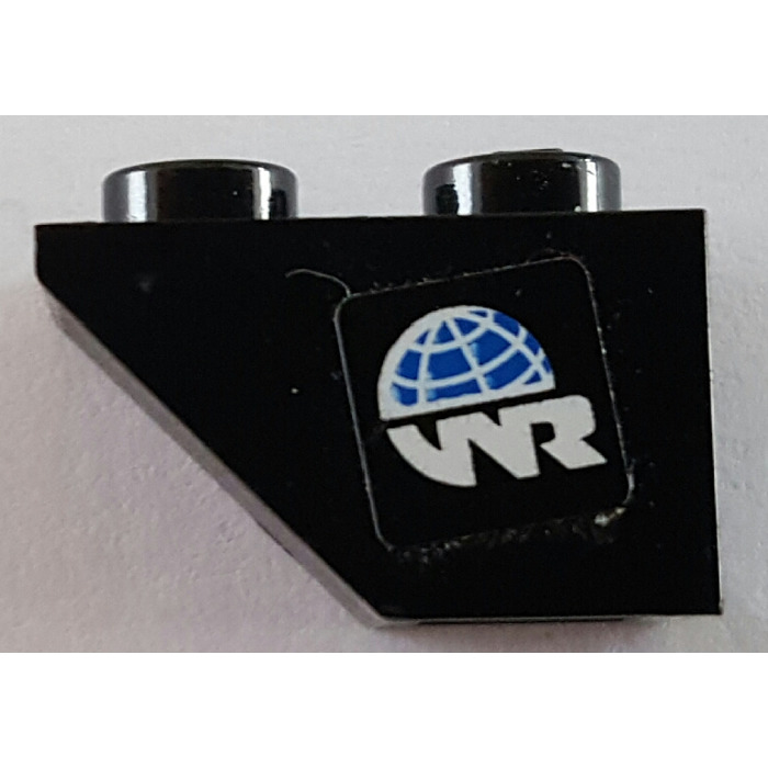 Lego black slope 45 2 x 1 inverted with world racers logo sticker
