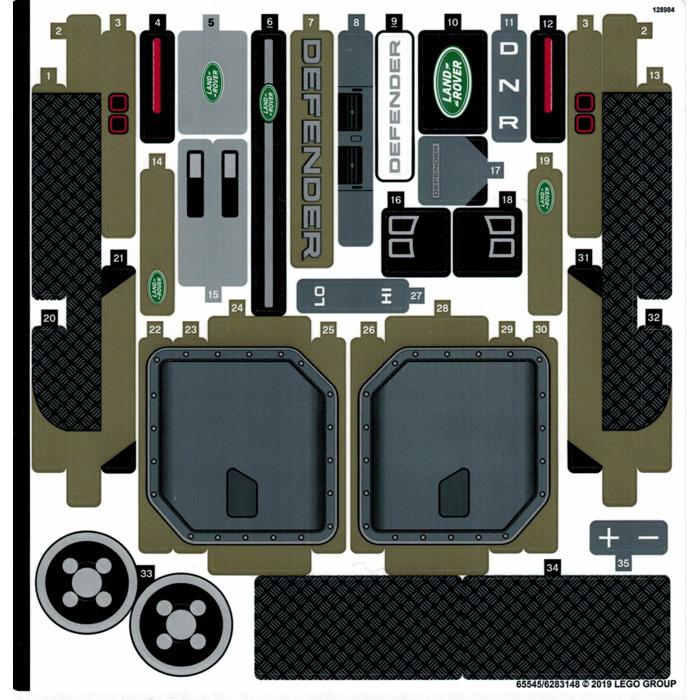 Custom Precut Aufkleber//Sticker passend für LEGO® 42110 Land Rover Defender