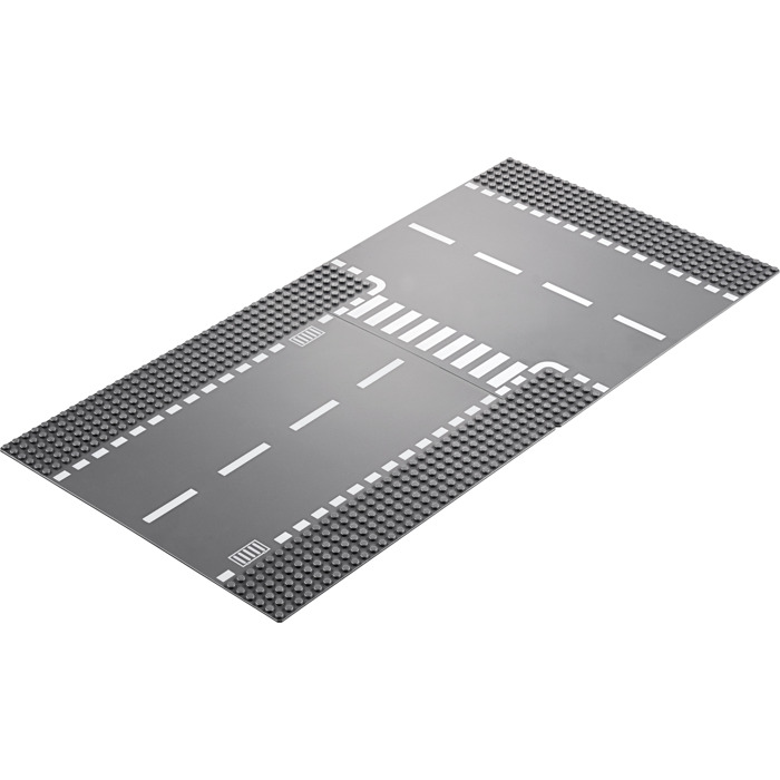 LEGO 44342 44342px2 Baseplate with White Dashed Lines Dark Bluish Gray