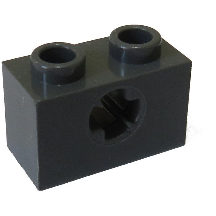 Lot of 50 Technic 1x2 Bricks Dark Bluish Gray Cross Hole
