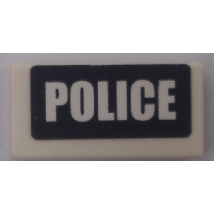 LEGO Lot of 2 White 1x2 Police Decorated Tile Pieces