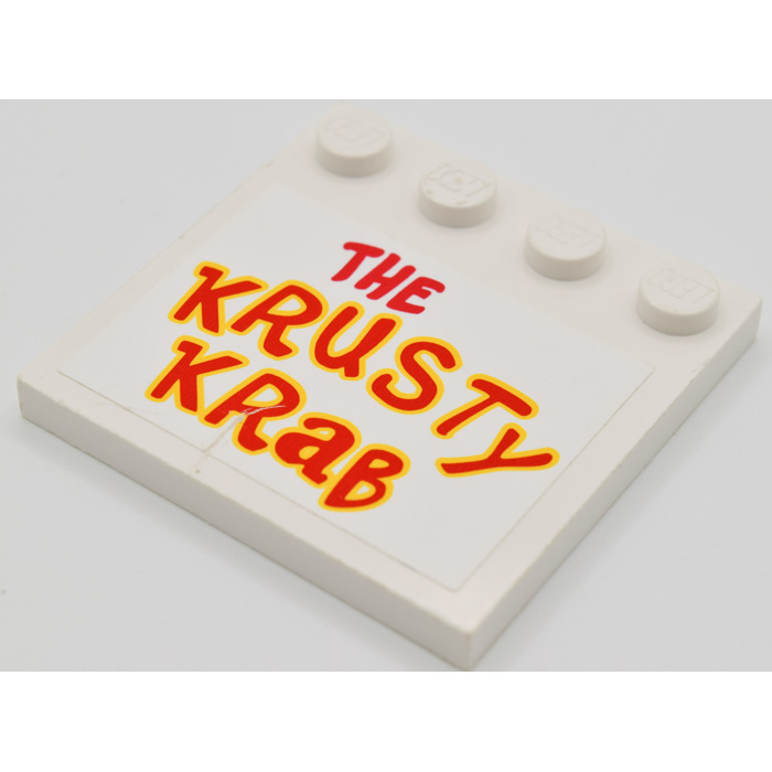 LEGO Tile 4 x 4 with Studs on Edge with Red and Yellow The Krusty Krab